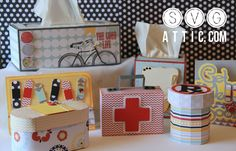 Feel Better Soon SVG Collection $6.99 - This set is sure to perk up anyone! Great for giving gifts to all of your medical professional friends! You get a 3D Band Aid Gift Box, First Aid Kit Gift Box, Rx Prescription Bottle Gift Box, a tall and short tissue box cover template, and two get well cards!