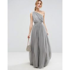 ASOS PREMIUM Tulle One Shoulder Maxi Dress ($98) ❤ liked on Polyvore featuring dresses, grey, tulle maxi dress, gray maxi dress, one shoulder dress, asos dresses and zipper dress