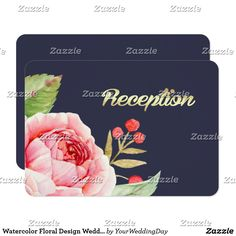 Watercolor Floral Design Wedding Reception Cards Romantic Watercolor Flower Painting Design Personalized Wedding Reception Cards. Matching Wedding Invitations, Bridal Shower Invitations, Save the Date Cards, Wedding Postage Stamps, Bridesmaid To Be Request Cards, Thank You Cards and other Wedding Stationery and Wedding Gift Products available in the Floral Design Category of our Store.