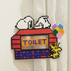 Snoopy toilet sign perler beads by bambi1231