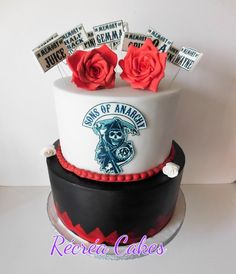 Sons of anarchy cake , black and white cake with gumpaste flowers Sons Of Anarchy, Gum Paste, Delicate, Birthday Cake, Clay, Cakes, Desserts, Flowers, Design