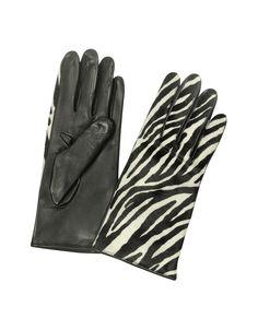"Forzieri Women's Zebra Pony Hair and Italian Nappa Leather Gloves S | 6 1/2"" | 16,5 cm at FORZIERI"