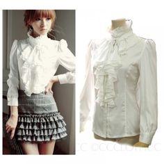 Black-White-High-Neck-Blouse-Womens-Vintage-Top-Victorian-Ruffle-Shirt-8-6-4-2-0