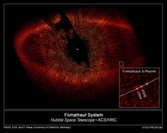 he Hubble Space Telescope's view of the star Fomalhaut and a directly imaged object encircling it, Fomalhaut b, thought to be an exoplanet.<br />