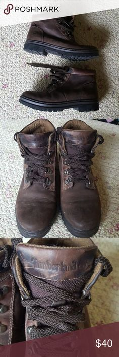 EUC - Leather Timberland lace-up boots EUC - Leather Timberland lace-up boots. Excellent used condition - original owner. Boots only worn a few times. Soles are in near-perfect condition. No noticeable wear on exterior of boots. Inside is extremely clean.  Great boots! Timberland Shoes Lace Up Boots