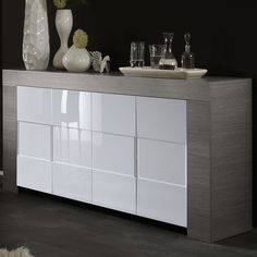 Bahut buffet design laqu blanc 4 portes elios meuble buffet bahut hcomm - Enfilade blanc laque ...