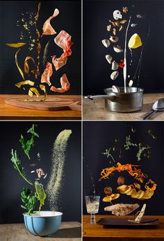 I imagine cooking a gourmet meal in outer space would look a little something like this incredible photo series by photographer Pavel Becker and art director Nora Luther – fresh ingredients. Food Photography Styling, Creative Photography, Food Styling, Amazing Food Photography, Abstract Photography, Food Design, Lumiere Photo, Photo Food, Commercial Photography
