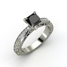Princess Black Diamond 18K White Gold Ring with Diamond   Megan Ring   Gemvara