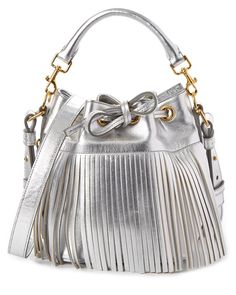 Saint Laurent Emmanuelle Small Metallic #Fringe Leather Bucket #Bag.