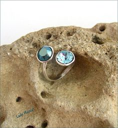 Silver/ blue crystal ring Bague Argent / doubles chatons Blue Crystals, Gemstone Rings, Gemstones, Silver, Etsy, Jewelry, Crystal Ring, Kittens, Ring