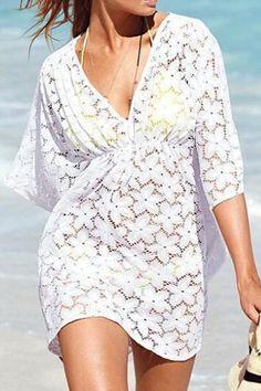 White Floral V-neck Beach Short Sleeve Dress