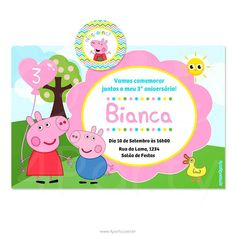 convite-peppa-pig-25 Aniversario Peppa Pig, Family Guy, Character, Continue, Alice, Peppa Pig Stickers, Invitation Templates, Personalized Invitations