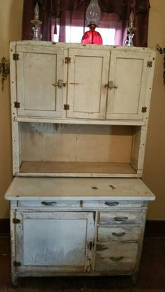 My Lil Hoosier cabinet Antique Hoosier Cabinet, Old Kitchen, Hope Chest, Storage Chest, Cabinets, Kitchens, Houses, Antiques, Furniture