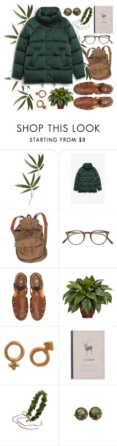 """CAHIER"" by ftrees ❤ liked on Polyvore featuring Crate and Barrel, Monki, Oliver Peoples, Franklin, Nearly Natural, Katy & June, Whichgoose, set and puffercoats"