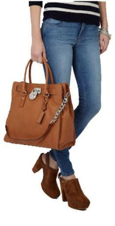 MICHAEL Kors Hamilton #30F91HMT3L LG NS Tote Luggage brown, SILVER HW, key, lock #MichaelKors #TotesShoppers