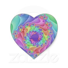 Customizable Pastel Fractal Spiral Heart Stickers going for $4.95. 20 stickers per sheet. Check this product out at www.zazzle.com/wonderart*