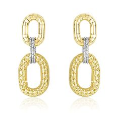 Intricately designed in 14K yellow and white gold, these earrings showcase puffed oval sections in different textured detailing. A gorgeous pair secured with pu