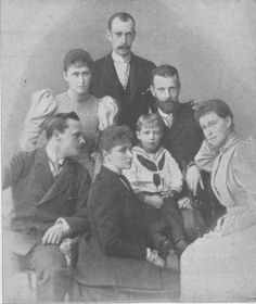 "Empress Alexandra with her siblings Irene, Ernst, ""Ella"", and Grand Dukes Paul and Sergeii. The little boy is Prince Valdemar of Prussia.  Ella was married to Grand Duke Sergeii Alexandrovich Romanov, uncle of Tsar Nicholas.  He was assassinated by an anarchist several years before the revolution. Paul (Pavel) Alexandrovich Romanov was also an uncle to the Tsar."