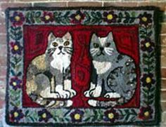 primitive cats hooked rug