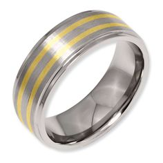 $72 - Titanium 14k Gold Inlay 8mm Satin and Polished Band Size 9.00