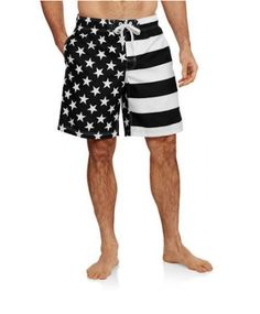 Mens FADED GLORY AMERICAN FLAG SWIM TRUNK BOARD SHORTs 2X 3X 4X 5X Black White #FadedGlory #Trunks