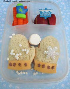 Bento School Lunches: Bento Lunch: Winter Mittens bento