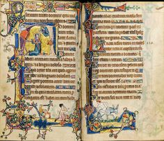 (This image by courtesy of Sotheby's) From the recently rediscovered Macclesfield Psalter (c.1320-30), probably from Gorleston, Norfolk, and closely related to the Gorleston Psalter. This double page spread contains all of Psalm 119 and the opening of Psalm 120.