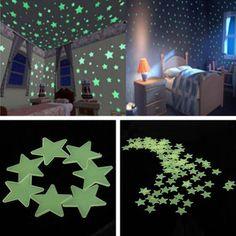 3cm 100PCS Fluorescent Glow Star Wall Sticker