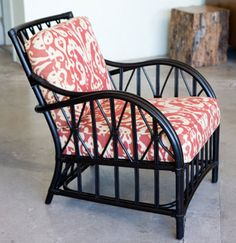 Campaign Lounge Chair with pattern cushion fabric.