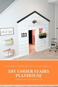 Check out this diy under stairs playhouse to use that empty space. a full video Under Stairs Nook, Under Stairs Playhouse, Build A Playhouse, Closet Playhouse, Playhouse Ideas, Indoor Playhouse, Cute Home Decor, Diy Home Decor Projects, Decor Ideas