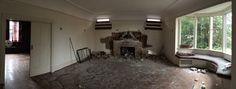 3330 West King Edward mid-demolition shot showing beautiful tiled fireplace, hardwood floors and sliding pocket doors.
