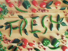 "Food Typography by Becca Clason. I like how the word ""Fresh"" gets a fresh feeling by being made out of peppers."