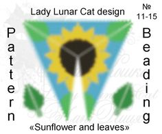 Triangle Peyote pattern sunflower and leaves by ARTLadyLunarCat