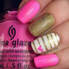 Simple Pink and Gold Glitter Nails