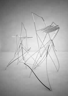 Bent metal bar stools.  From an un-named Russian design student.