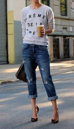 Cute way to rock the boyfriend jean