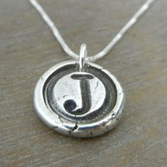 Wax Seal Initial Necklace  CHRISTA Typewriter Style by ERiaDesigns, $32.00