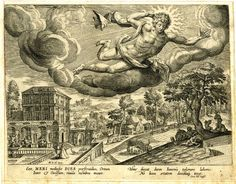 Brit Museum: Times of Day, Sol flying in the clouds above a midday landscape with a grand house and formal garden with fountain and peacock and scenes of harvesting and youthful figures resting under the shade of a tree; after Maarten de Vos.  Engraving