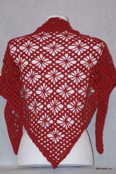 Crochet shawl raspberry shawl cotton shawl lace by MaKatarina