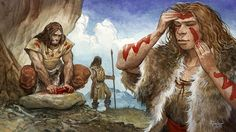 A depiction of Neanderthals as behaviorally complex humans by French artist Emmanuel Roudier