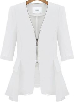 Shop White V Neck Zipper Fitted Contrast Chiffon Blazer online. Sheinside offers White V Neck Zipper Fitted Contrast Chiffon Blazer & more to fit your fashionable needs. Free Shipping Worldwide!