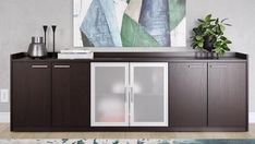Kennedy Dark Wood Executive Desk with Return Contemporary Office Storage, Reclining Sectional, Cabinet, Leather Bed, Contemporary House, Contemporary Office, Corner Sectional, L Shaped Corner Desk, Wood Credenza