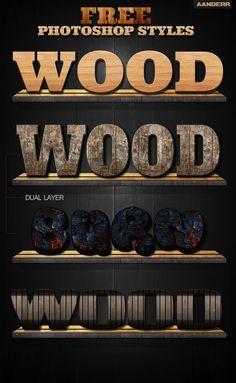 (Free) Photoshop Wood Styles by aanderr