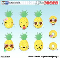 Funny Darling Pineapple Kawaii Clipart, Cute doodle digital Graphics great for your scrapbooking projects, Planner stickers or card making
