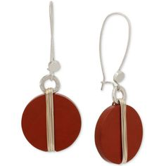 Robert Lee Morris Soho Two-Tone Wrapped Red Stone Drop Earrings ($38) ❤ liked on Polyvore featuring jewelry, earrings, red stone jewelry, stone drop earrings, two tone earrings, red stone earrings and circle earrings