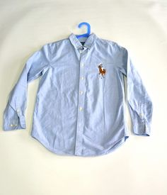 Camisa Polo Ralph Lauren. Talla 16 años. Camisa básica azul con logo  bordado grande 7652c8e8e0a64