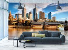 Photo Wallpaper MURAL POSTER Melbourne City Skyline & River Brigde