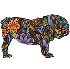 English Bulldog decal in a multicolored floral pattern  Available in 4 sizes: Small 15.9w x 9.5h, Medium 23w x 14.7h, Large 27.7w x 17.7h, X-Large 39.2w x 25h (sizes in inches / Large is realistic dog size)  Decals printed in the U.S.A. using lead-free, water-based ink on SafeCling, a high-quality, non-toxic, fabric decal material that is durable and tear-resistant  Ultra easy installation, no tools needed, peel and stick  Such a pretty pooch! This beautiful English Bulldog displays a…