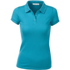 URBANCLEO Womens Classic Stretch Pique Polo Shirts- Various Colors ($11) ❤ liked on Polyvore featuring tops, stretch tops, polo shirts, stretchy tops, blue top and blue polo shirt