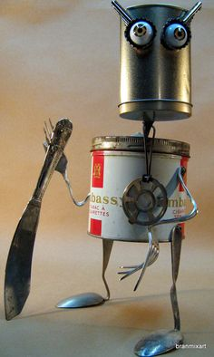 Expressive Repurposed Metal Sculpture Alien Robot Android Art Sci Fi Steampunk Roswell Ufo Aliens, Avp Collectibles